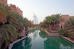Burj Al Arab - Day. Burj Dubai during the day with a reflection in the water Stock Photo