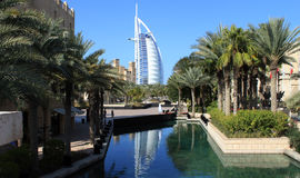 Burj Al Arab, Dubai, UAE. View of luxurious 7 star hotel Burj Al Arab from Madinat Jumeirah at Dubai, United Arab Emirates Royalty Free Stock Photography