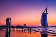 Burj Al Arab is een luxe 5 sterrenhotel Stock Foto's