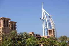 Burj Al Arab Hotel Dubai. Burj Al Arab Hotel in Dubai (United Arab Emirates) with shopping/hotel complex in foreground stock image