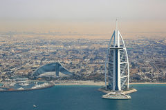 Burj Al Arab Hotel Dubai aerial view Stock Photography