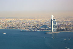 Burj Al Arab Hotel Dubai beach sea aerial view Stock Images