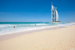 Burj Al Arab Hotel, Dubai. Side view stock photo