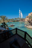 Burj Al Arab Hotel, Dubai. Side view from Madinat Jumeirah royalty free stock images