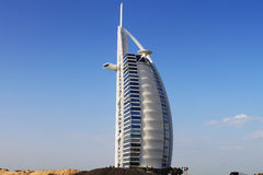 Burj Al Arab hotel, Dubai, UAE. Full view of luxurious 7 star hotel Burj Al Arab at Dubai, United Arab Emirates Royalty Free Stock Photos