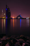 Burj Al Arab hotel night view Royalty Free Stock Photo