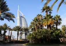 Burj Al Arab hotel in palms, Dubai, UAE. View of luxurious 7 star hotel Burj Al Arab from Madinat Jumeirah at Dubai, United Arab Emirates Stock Photo