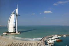 Burj Al Arab hotel. Scenic view of the Burj Al Arab hotel with the beach and marina in the foreground, Dubai, United Arab Emirates Stock Photography