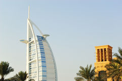 Burj al Arab hotel during sunset Royalty Free Stock Images