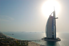 Burj al Arab hotel at sunset Stock Photos