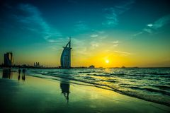 Burj Al arab jest luksusu 5 gwiazdami hotelowymi Obrazy Stock