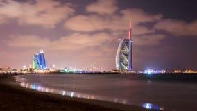 Burj Al Arab and Jumeirah Beach Hotel at the dusk Stock Photo