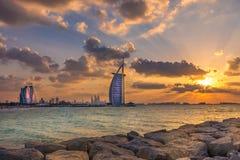Burj Al Arab and Jumeirah Beach Hotel at the sunset Royalty Free Stock Photos