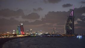 Burj Al Arab and Jumeirah Beach Hotel at the sunset stock video