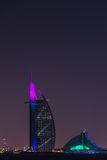 Burj Al Arab Jumeirah in Dubai city at night Royalty Free Stock Photos
