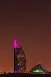 Burj Al Arab Jumeirah in Dubai city at night Royalty Free Stock Photography
