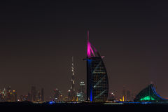 Burj Al Arab Jumeirah in Dubai city at night Stock Image