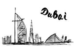 Burj Al Arab Jumeirah e hotel da praia de Jumeirah - Dubai Foto de Stock Royalty Free