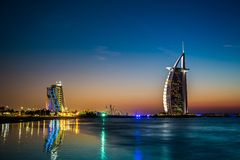 Burj Al Arab is a luxury 5 stars hotel Royalty Free Stock Images