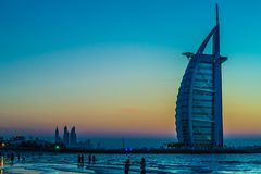 Burj Al Arab is a luxury 5 stars hotel Royalty Free Stock Photos