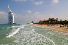 Burj Al Arab, The Madinat and Jumeirah beach hotel Royalty Free Stock Image