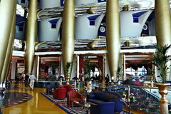 Burj al arab. Main Hall of the hotel burj Al arab Stock Photo
