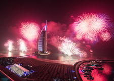 Burj al arab new years eve fireworks. From above Stock Photos