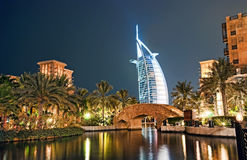 Burj Al Arab at night. Burj Dubai illuminated in white at night Stock Images