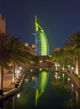 Burj Al Arab at night. Burj Dubai at night with a reflection in the water Stock Photo