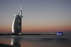 Burj al arab by night at dubai Stock Photo