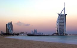 Burj Al Arab 7 Star hotel Dubai sunrise Stock Photo