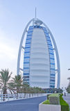Burj Al Arab 7 star hotel in sunset Royalty Free Stock Photo