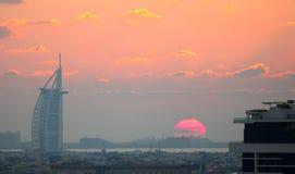Burj Al Arab at sunset in Dubai Royalty Free Stock Photography