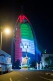 Burj al arab zakrywa z flaga państowowa colo Obraz Stock