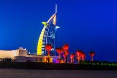 Burj Al Arabe hotell i Dubai Arkivfoto