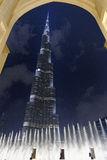 Burj al Khalifa and fountains Stock Images