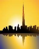 Burj dubai en la puesta del sol libre illustration