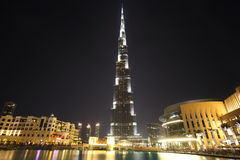 Burj Dubai skyscraper night time general view Royalty Free Stock Photography