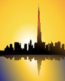 Burj dubai at sunset. Illustration of burj dubai at sunset, emirates Royalty Free Stock Photo
