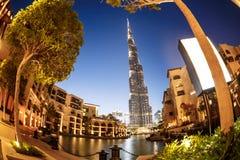 Burj Khalifa Ντουμπάι στη θερινή νύχτα Στοκ φωτογραφίες με δικαίωμα ελεύθερης χρήσης