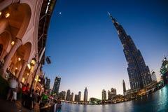 Burj Khalifa Ντουμπάι στη θερινή νύχτα Στοκ Φωτογραφίες