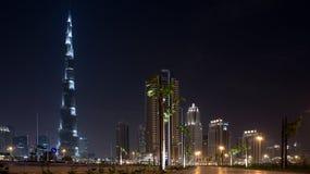 Burj Khalifa που χτίζει τη νύχτα Στοκ Εικόνα
