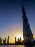Burj Khalifa στο ηλιοβασίλεμα Στοκ φωτογραφία με δικαίωμα ελεύθερης χρήσης