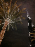 Burj Khalifa и освещенная пальма Стоковые Изображения RF