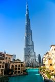 Άποψη σχετικά με Burj Khalifa, Ντουμπάι, Ε.Α.Ε., τη νύχτα Στοκ φωτογραφίες με δικαίωμα ελεύθερης χρήσης