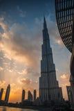 Burj Khalifa bei Sonnenuntergang Stockbilder