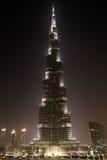 Burj Khalifa bij Nacht, Doubai, Verenigde Arabische Emiraten Stock Foto's