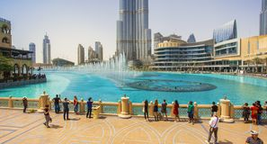 Burj Khalifa building and fountain show in Dubai city UAE