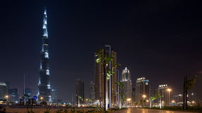 Burj Khalifa Building At Night Stock Image