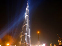 Burj Khalifa (Burj Dubai) Inauguration. Burj Khalifa (previously called Burj Dubai) tallest building in the world opening ceremony held with spectacular Stock Photo